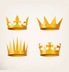 Crowns for king or queen 3d royal headdress vector
