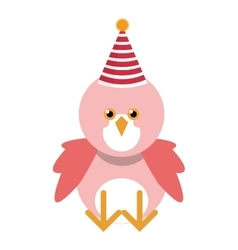Cute pink bird with party hat vector image