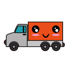delivery truck kawaii character vector image