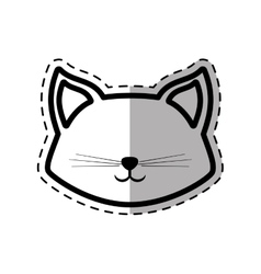 Face cat fluffy lovely animal dot line shadow vector