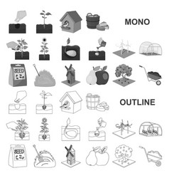 Farm and agriculture monochrom icons in set vector