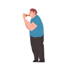Fat man eating pizza side view obese person vector