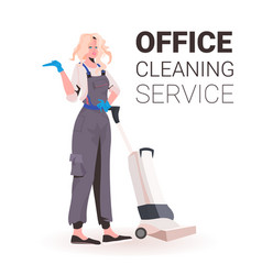 Female professional office cleaner woman janitor vector