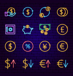 finance neon icons vector image