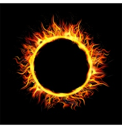 Fire Circle on Black Background vector
