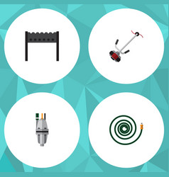 Flat icon farm set of hosepipe pump grass-cutter vector
