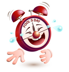 fools day time clock is laughing to tears vector image