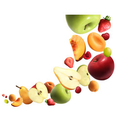 fruits falling realistic composition vector image