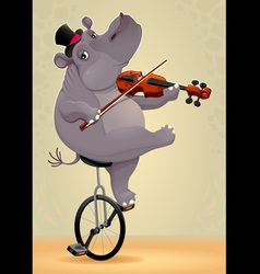 Funny hippo on an unicycle vector image