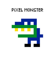 Game retro pixel dinosaur monster vector