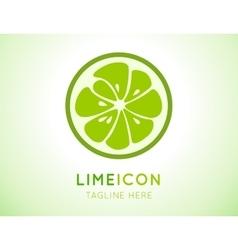 Green lime stylish icon Juicy fruit logo vector image