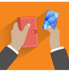 Hand giving credit card vector