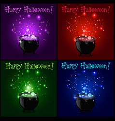 happy halloween greeting card set witch cauldron vector image