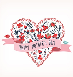 happy mothers day with florals heart shape and vector image