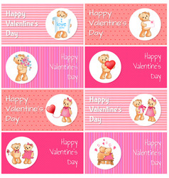 happy valentines day horizontal postcards set vector image