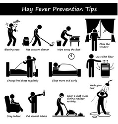 Hay fever prevention allergy tips stick figure vector