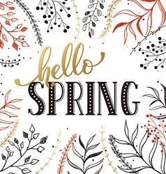 Hello spring card vector