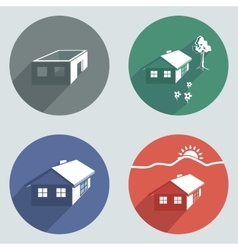 House building icon set Cottage apartment vector image