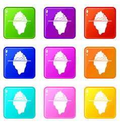 iceberg icons 9 set vector image