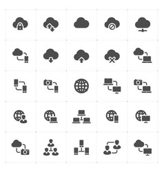icon set - network and connectivity solid icon vector image