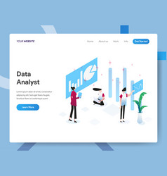 Landing page template data analyst isometric vector