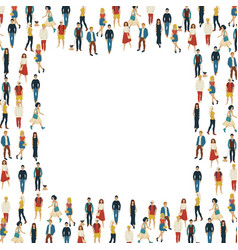Large group of people in the shape of square vector