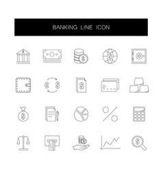 line icons set banking pack vector image