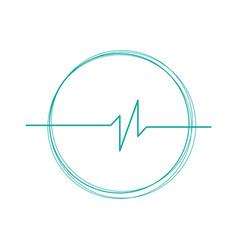 Linear cardiogram in circle logo cardiology heart vector