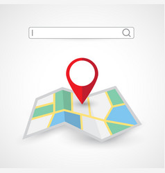 location search folded map navigation vector image