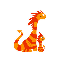 Loving mother dragon and her baby cute striped vector