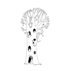 Magic Tree rabbits owl dog and mouse Winter vector
