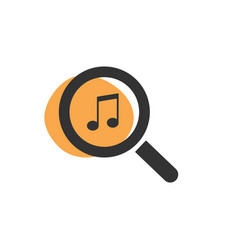 Magnifying glass looking for music isolated web vector