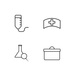 Medical simple outlined icons set vector