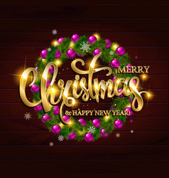 merry christmas alligraphic greeting card vector image