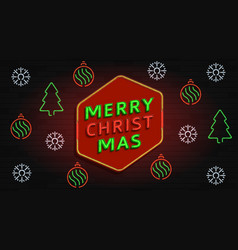 merry christmas neon banner vector image