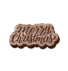 Merry christmas wood badge element vector
