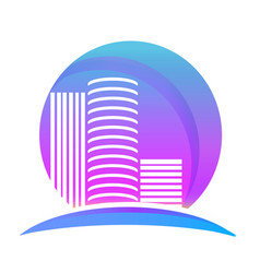 miami buildings city logo vector image