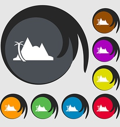 Mirage icon sign Symbols on eight colored buttons vector