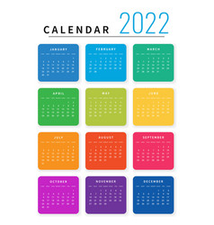 Mockup simple calendar layout for 2022 year week vector