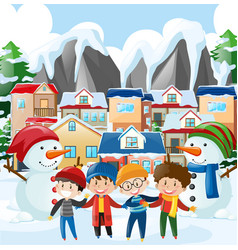 Neighborhood scene with four boys in winter vector