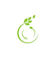 organic food icon logo vector image