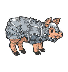Pig in knight armor sketch engraving vector
