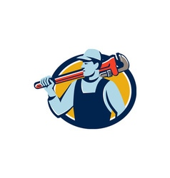 Plumber Monkey Wrench Shoulder Circle Retro vector