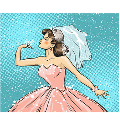pop art bride looking at vector image