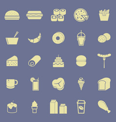 Popular food color icons on blue background vector