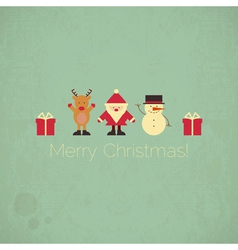 Retro Merry Christmas Card with Santa Claus vector