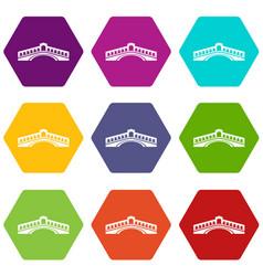 rialto bridge icons set 9 vector image