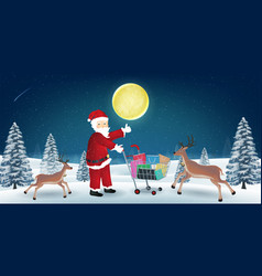 santa claus with reindeer and shopping bag on cart vector image