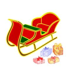 Santa sleigh and gifts happy xmas vector