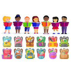 School kids with books schoolbags or backpacks vector